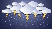 Summer Thunderstorms. Storm Clouds, Thunderstorm Lightning And Rainy Weather. Thunder And Lightnings poster