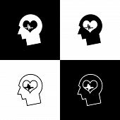 Set Male Head With A Heartbeat Icons Isolated On Black And White Background. Head With Mental Health poster
