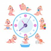 Cartoon Baby Routine. Kid Daily Cycle, Child Playing Sleeping Eating Schedule, Baby Daily Routine Ac poster