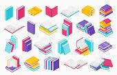 Flat Books Icons. Stack Of Open And Close Books, Magazines Textbooks And Brochures, Vector Group Of  poster