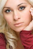 foto of blonde woman  - Beautiful young blonde female posing for camera - JPG