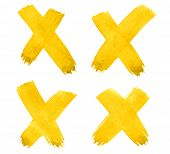 4 Cross, X - Vibrant Yellow Watercolor Abstract Background, Stain, Splash Paint, Stain, Divorce. Vin poster