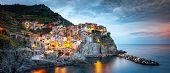 Manarola Village, Cinque Terre Coast Of Italy. Manarola A Beautiful Small Town In The Province Of La poster