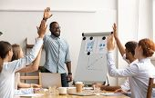 Business Team Voting Concept, African Coach And Employees Raise Hands poster