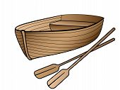 Wooden Boat With Oars. Rowing Boat For Romantic Walks On The Lake Or The Sea. Lifeboat Made Of Wood. poster