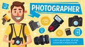 Photographer With Photography Equipment, Digital Camera, Flash And Lens, Memory Card, Vintage Camera poster