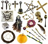 Design Set With Ritual Objects With Voodoo Doll, Pentagram, Pumpkin Isolated On White. Wicca, Esoter poster
