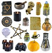 Design Set With Pentagram, Pumpkin, Witch Book, Black Candle Isolated On White. Wicca, Esoteric, Div poster