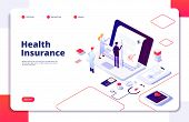 Health Insurance Concept. Family Medical Health Life Insurance Policy Hospital Economy Vector Backgr poster