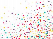 Festive Background With Multicolored Confetti. Yellow, Pink, Blue Circles But Against A White Backgr poster