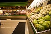 picture of grocery store  - A shot of a produce section in a grocery store or supermarket