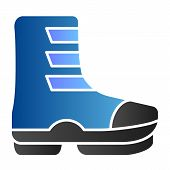 Ski Boot Flat Icon. Boots On Buckle Color Icons In Trendy Flat Style. Footwear Gradient Style Design poster