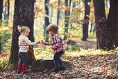 Childhood And Child Friendship, Love And Trust. Little Boy And Girl Friends Camping In Woods. Kids A poster