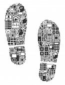 Boot Footprints Composition Icon Organized For Bigdata And Computing Purposes. Vector Boot Footprint poster