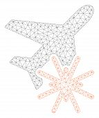Mesh Aiplane Explosion Polygonal Icon Illustration. Abstract Mesh Lines And Dots Form Triangular Aip poster