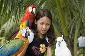 Child With Beautiful Parrots
