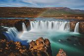 The Godafoss (icelandic: Waterfall Of The Gods) Is A Famous Waterfall In Iceland. The Breathtaking L poster