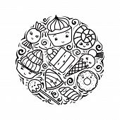 Set Of Contour Child Illustrations Of Cute, Kawai Sweets And Confection. Vector Elements For Sticker poster