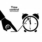 Time Control Icon Pictogram. Deadline Concept. Stop Clock. Vector Illustration Flat Design. Isolated poster