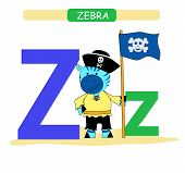 Letter Z And Funny Cartoon Zebra. Animals Alphabet A-z. Cute Zoo Alphabet In Vector For Kids Learnin poster