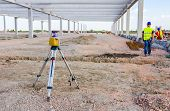 Total Center Device On Tripod With Laser For Leveling Other Devices To Level Construction Site. poster