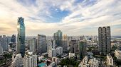 Bangkok City - Aerial View  Bangkok City Urban Downtown Skyline Tower Of Thailand On Blue Sky Backgr poster
