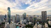 Bangkok City - Aerial View  Bangkok City Urban Downtown Skyline Tower Of Thailand On Blue Sky Backgr poster