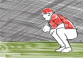 Baseball Catcher At The Stadium. Colorful Illustration. One Baseball Pitcher Is Sitting. Waiting Pos poster