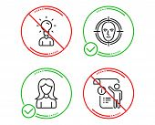 Do Or Stop. Education, Woman And Face Detect Icons Simple Set. Manual Doc Sign. Human Idea, Girl Pro poster