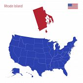 The State Of Rhode Island Is Highlighted In Red. Blue Vector Map Of The United States Divided Into S poster