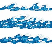 Seamless Ocean Waves. Sea Surf, Decorative Surfing Wave And Water Pattern Hand Drawn Sketch Vector I poster