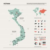 Vector Map Of Vietnam.  High Detailed Country Map With Division, Cities And Capital Hanoi. Political poster