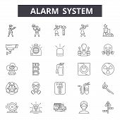 Alarms System Line Icons, Signs Set, Vector. Alarms Ystem Outline Concept Illustration: Security, Al poster