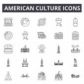 American Culture Line Icons, Signs Set, Vector. American Culture Outline Concept, Illustration: Amer poster