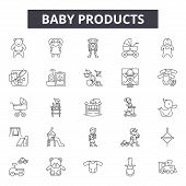 Baby Products Line Icons, Signs Set, Vector. Baby Products Outline Concept, Illustration: Baby, Prod poster