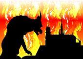 Notre Dame De Paris And Gargoyle On Fire, France, Paris City Symbols, Vector Silhouette Isolated Or  poster