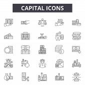 Capital Line Icons, Signs Set, Vector. Capital Outline Concept, Illustration: Capital, Finance, Busi poster
