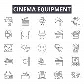 Cinema Equipment Line Icons, Signs Set, Vector. Cinema Equipment Outline Concept, Illustration: Cine poster