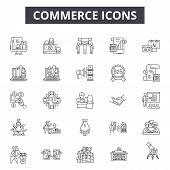 Commerce Line Icons, Signs Set, Vector. Commerce Outline Concept, Illustration: E-commerce, Cart, St poster