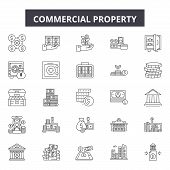Commercial Property Line Icons, Signs Set, Vector. Commercial Property Outline Concept, Illustration poster