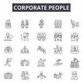 Corporate People Line Icons, Signs Set, Vector. Corporate People Outline Concept, Illustration: Soci poster