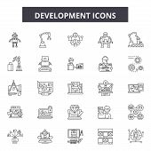 Development Line Icons, Signs Set, Vector. Development Outline Concept, Illustration: Development, B poster