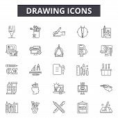 Drawing Line Icons, Signs Set, Vector. Drawing Outline Concept, Illustration: Drawing, Degraphic, Sk poster