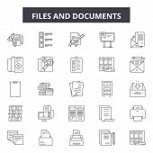 Files And Documents Line Icons, Signs Set, Vector. Files And Documents Outline Concept, Illustration poster