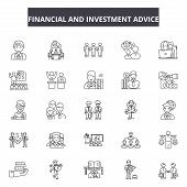 Financial And Investment Advice Line Icons, Signs Set, Vector. Financial And Investment Advice Outli poster