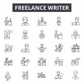 Freelance Writer Line Icons, Signs Set, Vector. Freelance Writer Outline Concept, Illustration: Writ poster