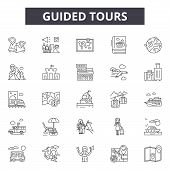 Guided Tours Line Icons, Signs Set, Vector. Guided Tours Outline Concept, Illustration: Guide, Tour, poster