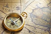 Antique Compass On Antique Map With Big Word India poster