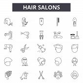 Hair Salons Line Icons, Signs Set, Vector. Hair Salons Outline Concept, Illustration: Salon, Hair, B poster
