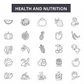 Health And Nutrition Line Icons, Signs Set, Vector. Health And Nutrition Outline Concept, Illustrati poster